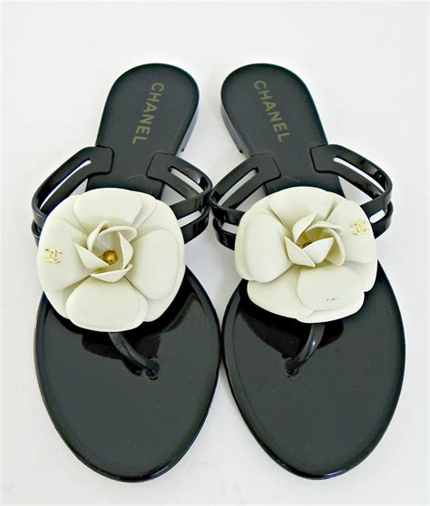 Chanel Flowers Slippers chanel black creme 38 camellia flower sandals shoes flip flop sandals flip flops