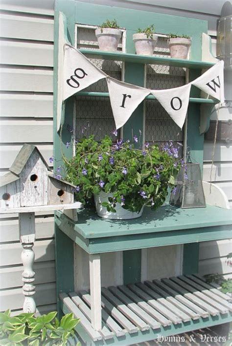 old door potting bench repurposed door projects the garden glove