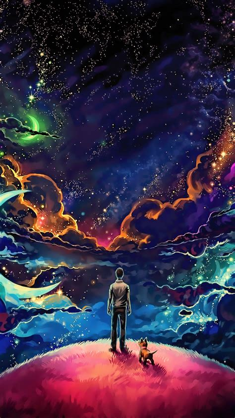 wallpaper man puppy universe dream stars deep space