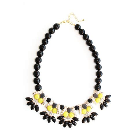 black beaded statement necklace neon yellow flower black beaded statement necklace