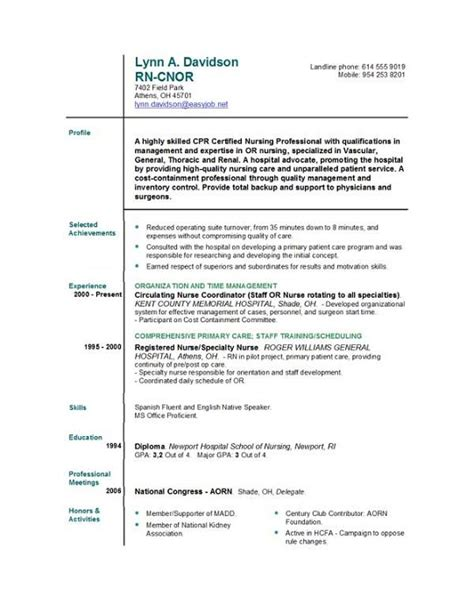 Resume Sles For Registered Nurses Nursing Resume Templates Easyjob Easyjob