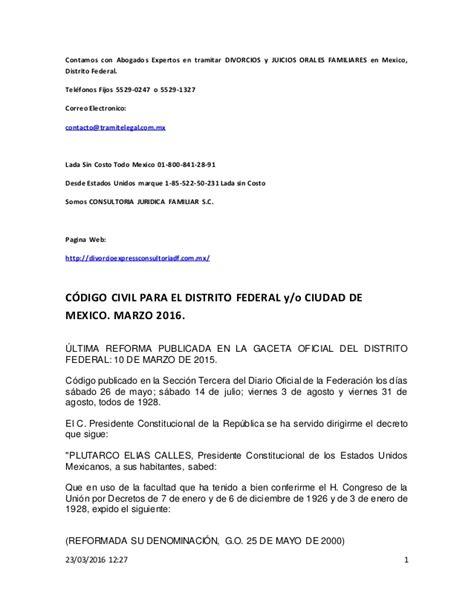 codigo civil para el distrito federal 2016 c 211 digo civil para el distrito federal y o ciudad de mexico