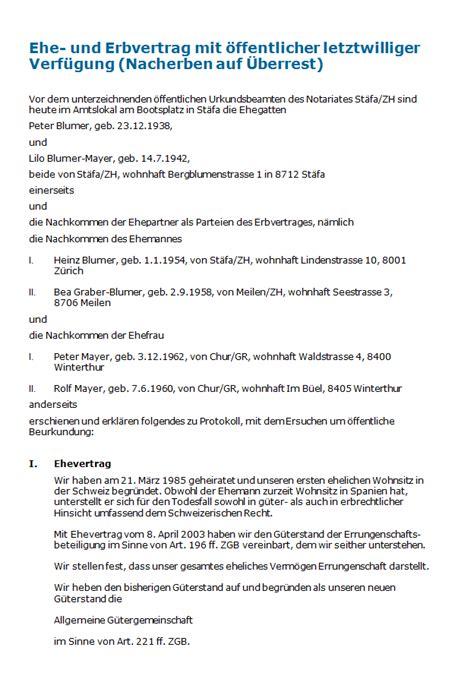Muster Treuhandvertrag Schweiz Ehe Und Erbvertrag Mit 246 Ffentlicher Letztwilliger