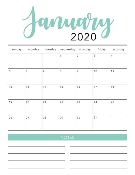 printable calendar template  colors