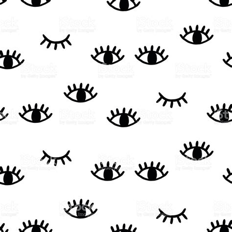 black and white pattern in vision seamless pattern with open and winking eyes stock vector