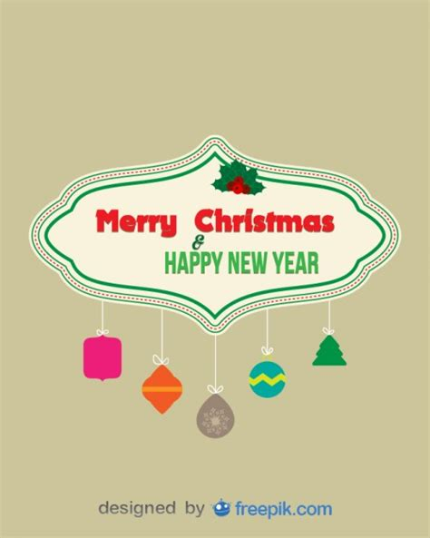 Banner Rumbai Hologram Merry Happy New Year merry and happy new year banner with decorative objects suspended from ropes vector