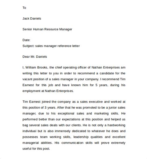 Sle Of Reference Letter For Sle Manager Reference Letter 7 Documents In Pdf Word