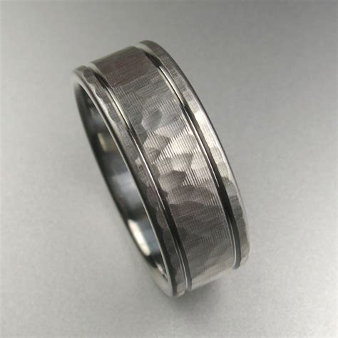 Hammered Stripes Ring   Men's Wedding Rings   Wedding