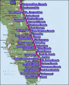 map of east coast of florida cities map of central florida east coast beaches