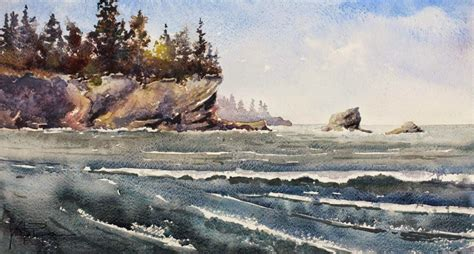 watercolor tutorial beach sunset bay beach scene watercolor painting