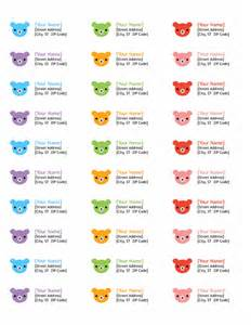 Microsoft Word Avery Label Templates by Return Address Labels Rainbow Bears Design 30 Per Page