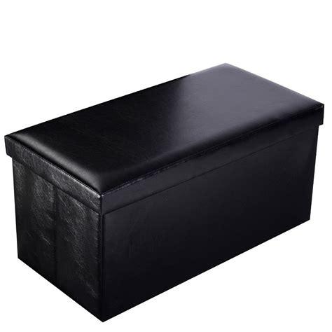 Ottoman Footrest Storage New Modren Rectangle Storage Ottoman Footrest Leather Black Footstool Home Decor Ebay
