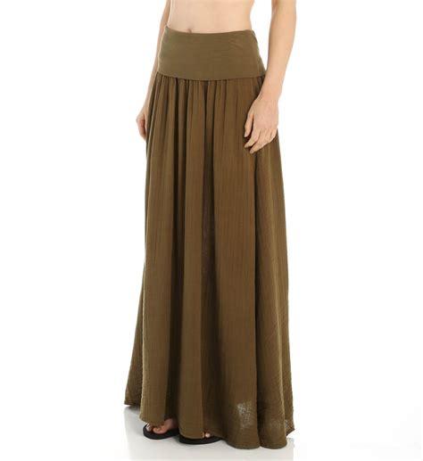 three dots gauze maxi skirt with side slits ka3064