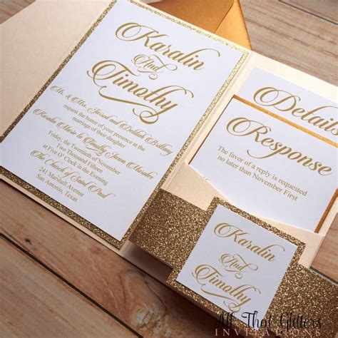 Gold Wedding Invitations by Diy Gold Glitter Wedding Invitations Gold 2570387