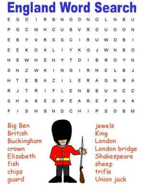 Printable Word Search England | england themed word search summer holidays week 1