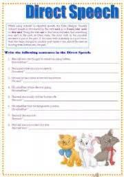 english teaching worksheets direct speech