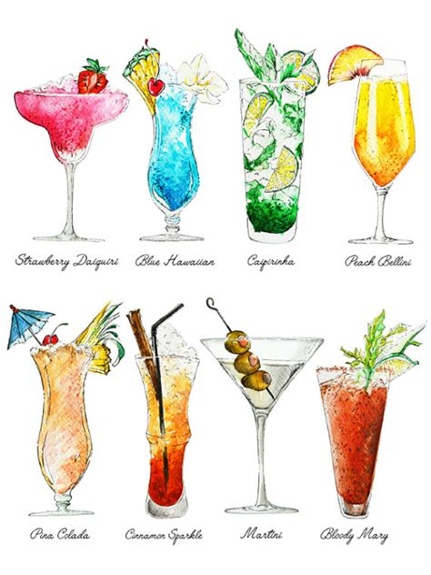 cocktails art print summer drinks with names by nickimatthewsart paintings pinterest