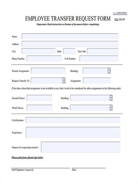 transfer request form 22 transfer forms in pdf