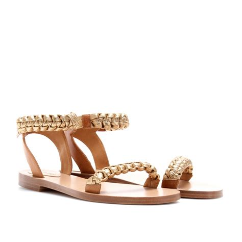 braided sandals flat leather sandals with braided straps the shoe
