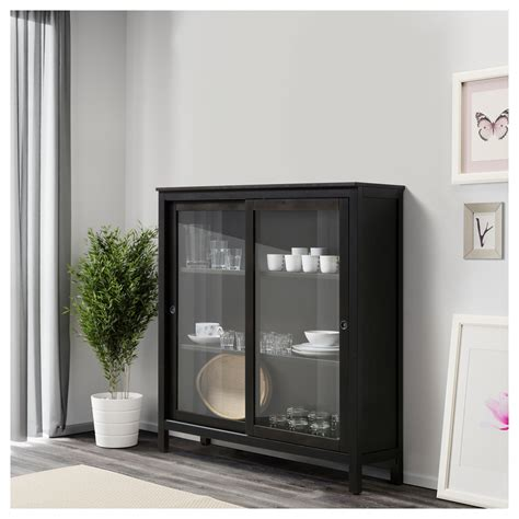 Black Cabinets With Glass Doors Hemnes Glass Door Cabinet Black Brown 120x130 Cm Ikea