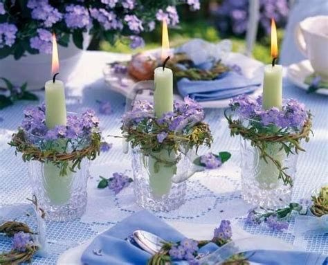 Carolyne Roehm lilacs and candles table decor