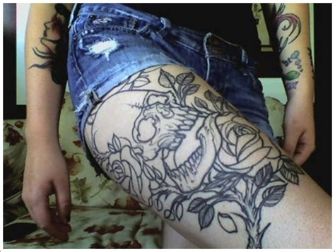 skull and rose tattoo on thigh thigh images designs