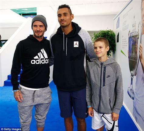 romeo beckham sydney romeo beckham cuddles dad david after showing off tennis