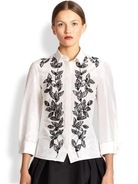 Carolina Blouse carolina herrera flower petal embroidered blouse in black lyst
