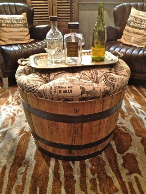 wine barrel ottoman items similar to vintage repurposed wine barrel cocktail