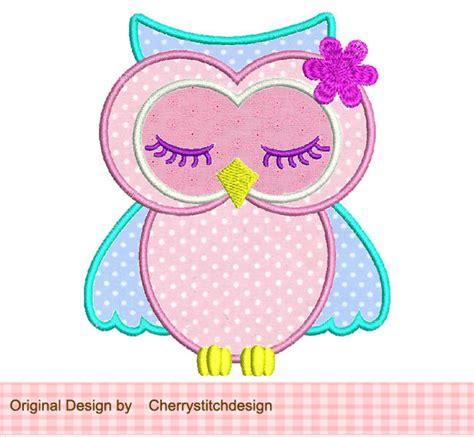 Cute Applique Pattern | cute sleeping owl applique 4x4 5x7 machine embroidery