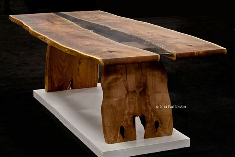 Hand Crafted Dining Table, Live Edge Slab Table With Inset Glass by Earl Nesbitt Fine Furniture