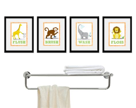 kids bathroom wall decor kids bathroom wall art four 8 x 10 bathroom jungle safari
