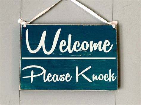 Knock The Door Sign by Welcome Knock 10x8 Choose Color Office Spa Salon
