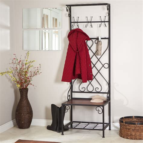 entryway storage bench with hooks best rack tree coat loring entryway storage rack hall tree hall trees at