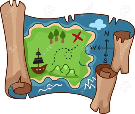 clipart map a scroll treasure map by free rf clipart clipartix