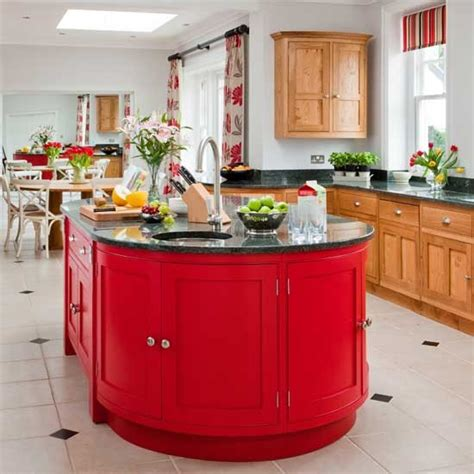 red kitchen island statement kitchen with red island unit kitchen ideas image housetohome co uk