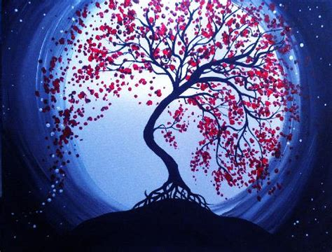 paint nite delaware learn to paint blue moon cherry blossoms