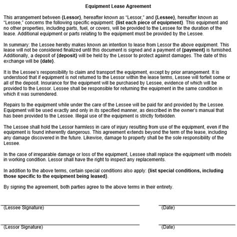 Equipment Lease Agreement Template Equipment Rental Contract Template Free