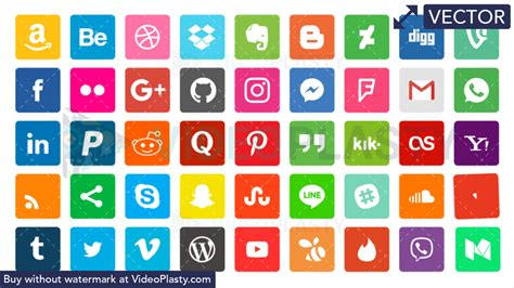 social media bundle  icons vector videoplasty