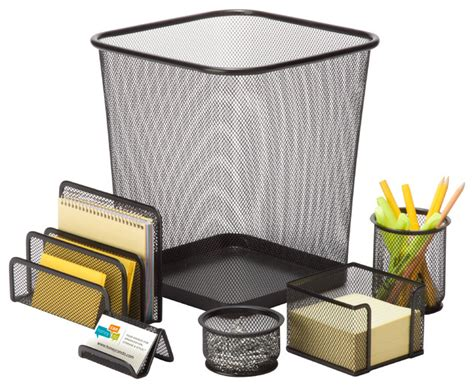 6 Piece Mesh Desk Set Black Desk Accessories By Honey Mesh Desk Accessories