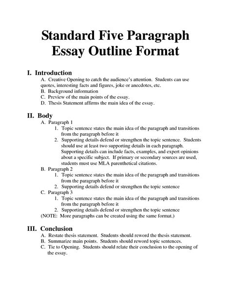 Standard Briefformat Standard Essay Format Images Essays Homeschool Paragraph Outlines And School