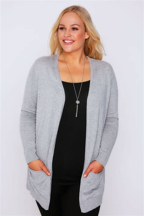 plus size knit with pockets grey soft knit cardigan with slouch pockets plus size 16 to 36