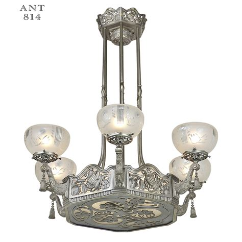 Ceiling Lights And Chandeliers Nouveau Or Deco Chandelier Antique Ceiling Light Fixture Ant 814 For Sale