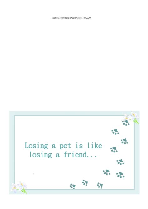 Pet Sympathy Card Template by Pawprints Sorry For Your Loss Pet Sympathy Card Template