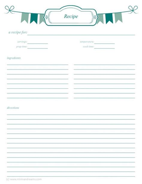 free printable recipe page template search results for free printable recipe card template