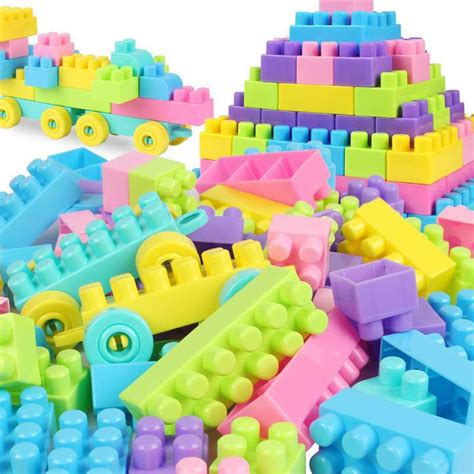 Pack Of 46 Plastic Puzzle Educational Building Blocks Bricks Children 200 pieces of building blocks with particles of plastic inserted into blocks baby digital early