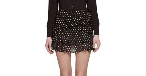 Yves Laurent Polka Dot Ruffle Mini Bag by Lyst Laurent Polka Dot Ruffled Mini Skirt In Black
