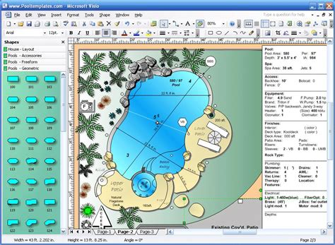 Visio Garden Template new page 6 www pooltemplates