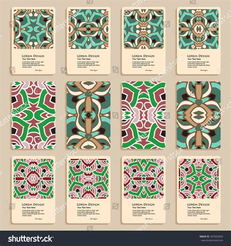 fabric card header template multicolored set business cards header templates stock