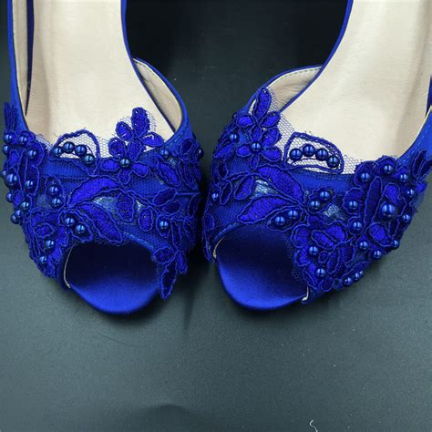 Blue Wedding Shoes For Low Heel by 5cm Heels Royalblue Lace Wedding Shoes Low Heels Bridals